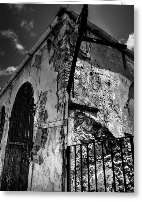 Charlotte Greeting Cards - Saint Thomas - Charlotte Amelie 002 BW Greeting Card by Lance Vaughn