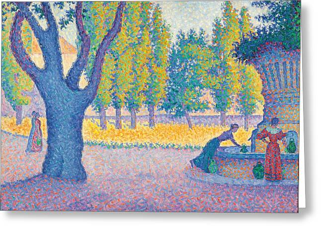 Saint-tropez Fontaine Des Lices Greeting Card by Paul Signac