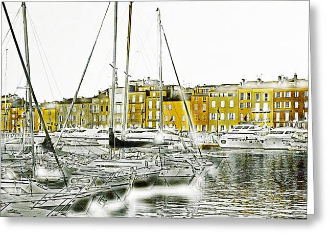 Abstract Seascape Mixed Media Greeting Cards - Saint Tropez Greeting Card by Frank Tschakert