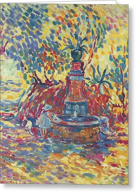 Saint-tropez. Girls Near The Fountain Greeting Card by Henri Lebasque