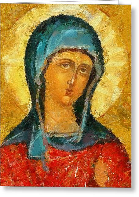 Jesus Christ Icon Greeting Cards - Saint Valentina Icon Greeting Card by Yury Malkov