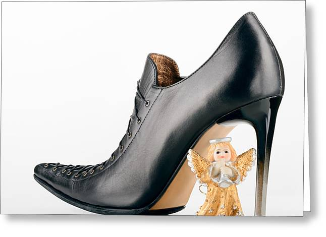 Footwear Love Greeting Cards - Saint Valentine Angel and a Shoe Greeting Card by Alain De Maximy