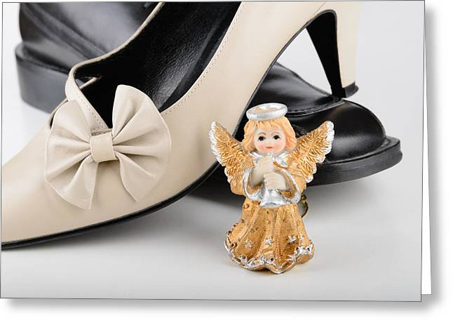 Footwear Love Greeting Cards - Saint Valentine Angel with two Shoes Greeting Card by Alain De Maximy