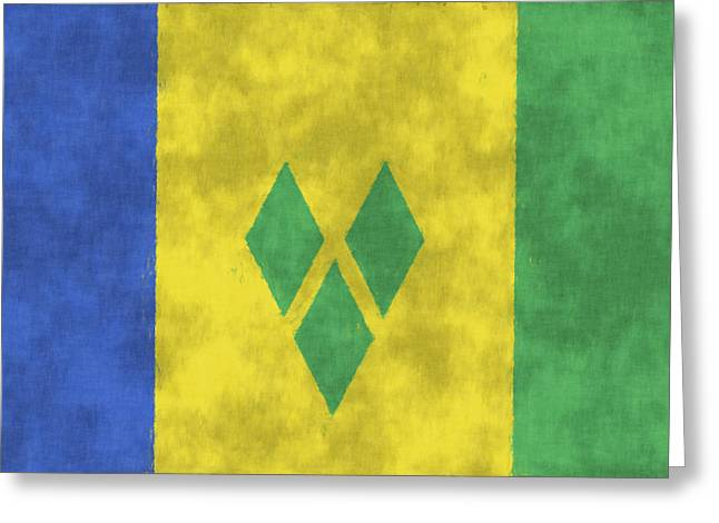 Grenadine Greeting Cards - Saint Vincent and the Grenadines Flag Greeting Card by World Art Prints And Designs