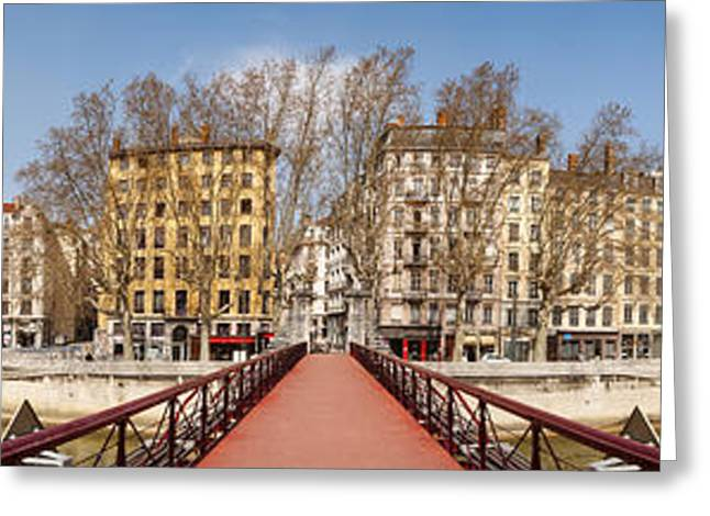 Lyon Greeting Cards - Saint Vincent Bridge Over The Saone Greeting Card by Panoramic Images