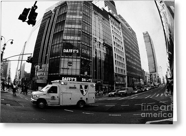 Manhatan Greeting Cards - Saint Vincent Catholic Medical Centre Ambulance Crossing 6th Avenue And Broadway Greeting Card by Joe Fox