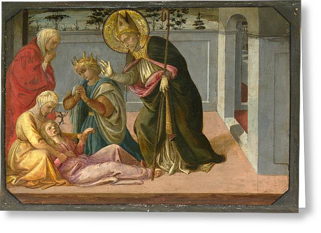Fra Greeting Cards - Saint Zeno exorcising the Daughter of Gallienus Greeting Card by Fra Filippo Lippi and Workshop