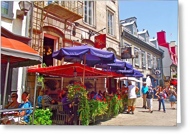 Qc Greeting Cards - Sainte-Anne Street in Old Quebec-QC Greeting Card by Ruth Hager