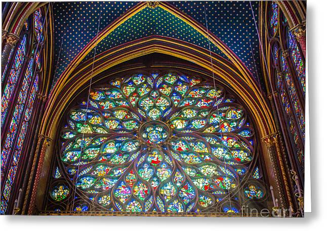 Sainte-chapelle Fenetre Ronde Greeting Card by Inge Johnsson