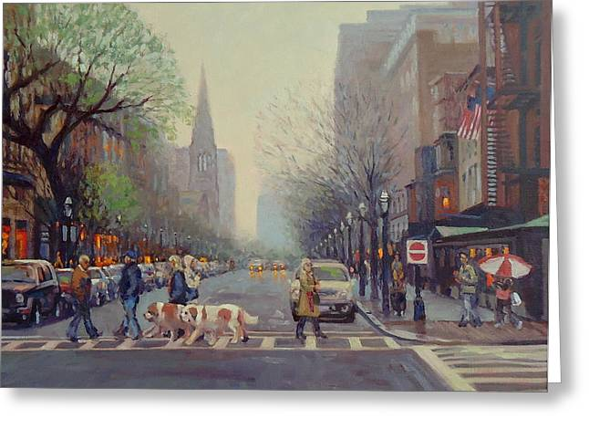 Dog Walking Greeting Cards - Saints Come Marching In Greeting Card by Dianne Panarelli Miller