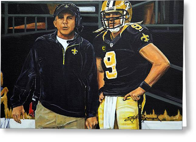 Sean Paintings Greeting Cards - Saints Dynamic Duo Greeting Card by Stephen Broussard