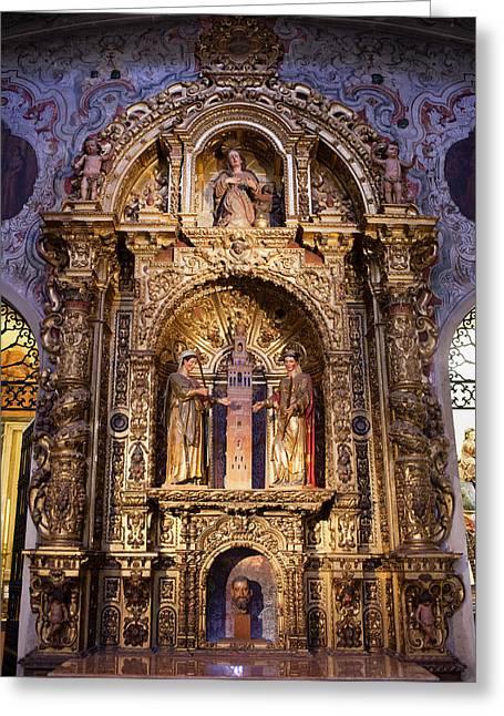 Spanish Art Sculpture Greeting Cards - Saints Justa and Ruffina with Giralda Tower Reredos Greeting Card by Artur Bogacki