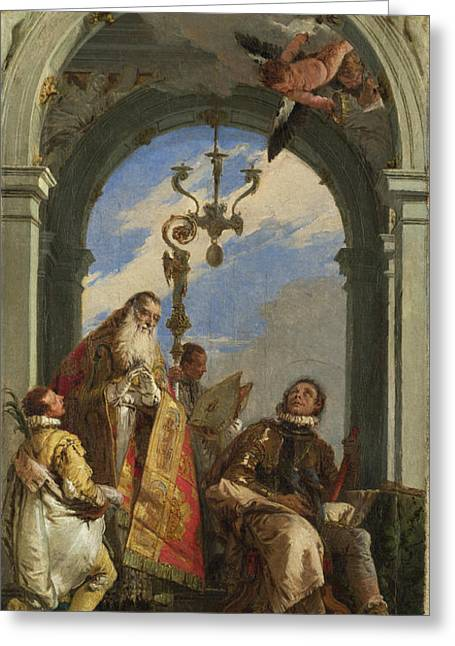Giovanni Battista Tiepolo Greeting Cards - Saints Maximus and Oswald Greeting Card by Giovanni Battista Tiepolo