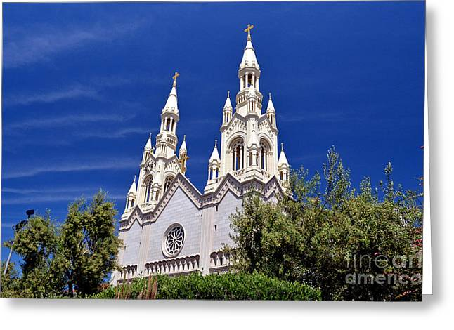 Saints Peter And Paul Church In San Francisco Greeting Card by Jim Fitzpatrick