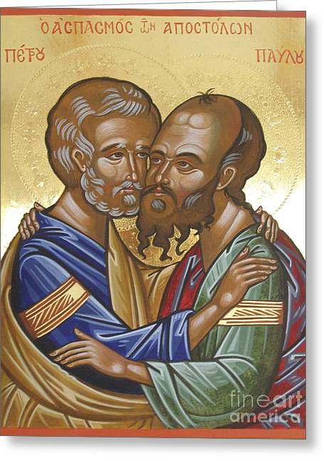 Byzantine Icon Greeting Cards - Saints Peter and Paul Icon Greeting Card by Peter Murphy
