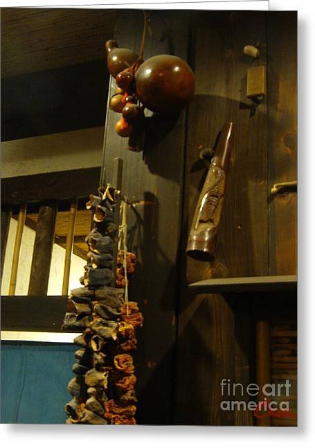 Sake Gourd Bottles With Japanese Decor Greeting Card by Feile Case