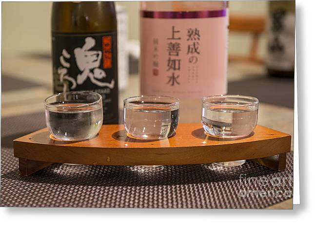 Sake Bottle Greeting Cards - Sake Trio - A variety of sake to taste. Greeting Card by Jamie Pham