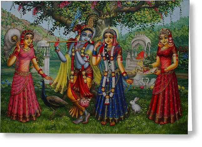 Hinduism Greeting Cards - Sakhi Yugal Greeting Card by Vrindavan Das