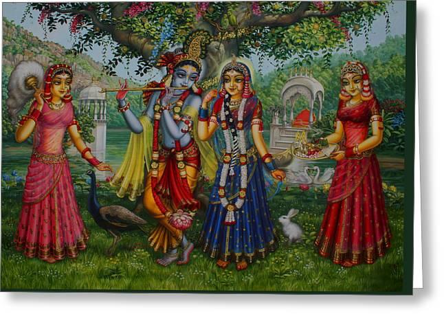 Gopi Greeting Cards - Sakhi Yugal Greeting Card by Vrindavan Das