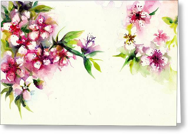 Cherry Blossoms Paintings Greeting Cards - Sakura - Cherry Tree Blossom Watercolor Greeting Card by Tiberiu Soos