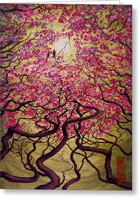 Best Sellers -  - Abstract Digital Paintings Greeting Cards - Sakura Greeting Card by Vrindavan Das