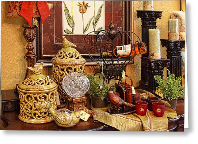 Red Wine Prints Photographs Greeting Cards - Salado Antique Shop Greeting Card by Linda Phelps