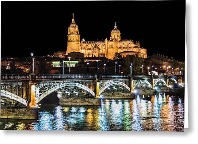 Esteban Greeting Cards - Salamanca at Night Greeting Card by JR Photography