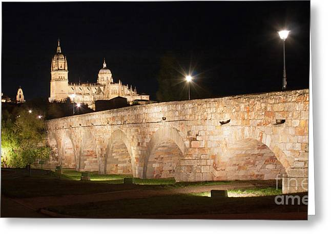 Southern Province Greeting Cards - Salamanca Night Skyline Greeting Card by JR Photography