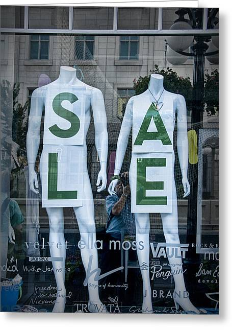 Store Fronts Greeting Cards - Sale in Window Display with mannequins in Toronto Greeting Card by Randall Nyhof