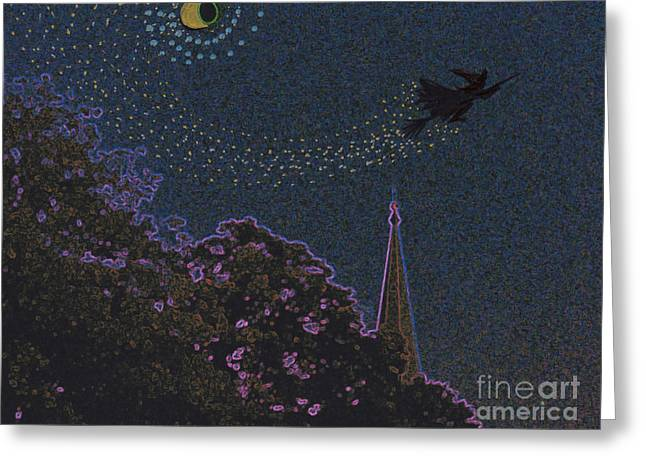 Samhaim Greeting Cards - Salem Witch Moon 2 by jrr Greeting Card by First Star Art