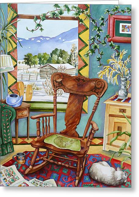 Rocking Chairs Paintings Greeting Cards - Salida Sunday Morning Greeting Card by Anne Gifford
