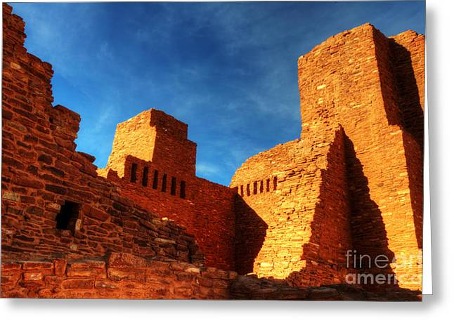 Ancestors Greeting Cards - Salinas Pueblo Abo Mission Golden Light Greeting Card by Bob Christopher