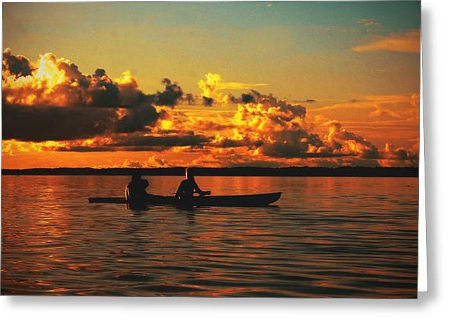 Canoe Photographs Greeting Cards - Saling thought Amazonas  Greeting Card by Laura Jimenez