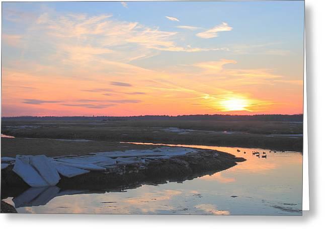 Massachusetts Coast Greeting Cards - Salisbury Beach Late Winter Sunset Greeting Card by John Burk