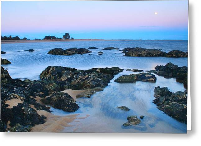 Moon Beach Photographs Greeting Cards - Salisbury Beach Merrimack River Moonrise over Sea Rocks Greeting Card by John Burk