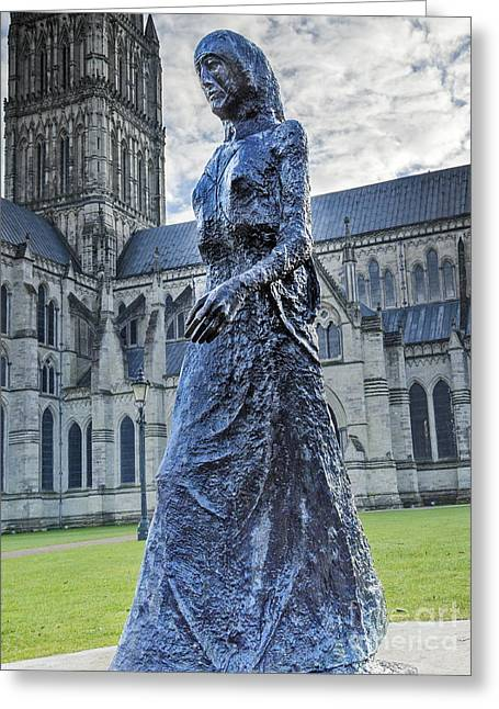Old Digital Art Greeting Cards - Salisbury Cathedral And The Walking Madonna 2 Greeting Card by Linsey Williams