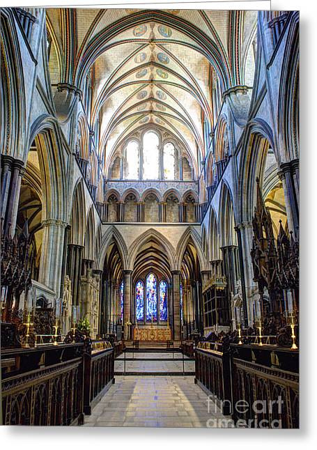 Historical Photographs Greeting Cards - Salisbury Cathedral Greeting Card by Juli Scalzi