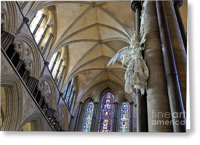 Catherdral Greeting Cards - Salisbury Cathedral Vaulted Ceiling and Peter Rush Angel Greeting Card by Terri  Waters