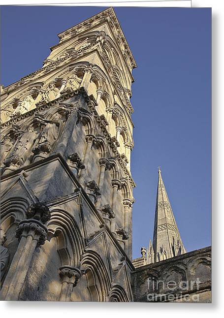Historic Statue Greeting Cards - Salisbury Cathedral West Front and Spire Greeting Card by Terri  Waters