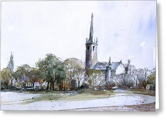 Constable Drawings Greeting Cards - Salisbury Cathedral. Wiltshire. Greeting Card by Ann Stringer-Paget