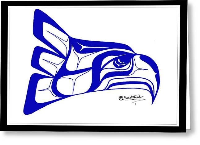 Speakthunder Berry Greeting Cards - Salish Seahawks logo Greeting Card by Speakthunder Berry