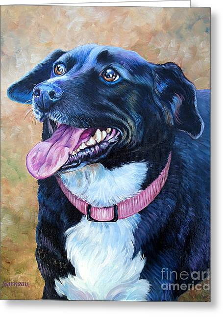 Mixed Labrador Retriever Paintings Greeting Cards - Sallie Greeting Card by Catherine Garneau