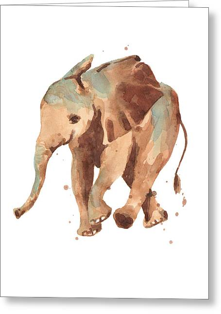 Calm Paintings Greeting Cards - Sally Softly Elephant Greeting Card by Alison Fennell