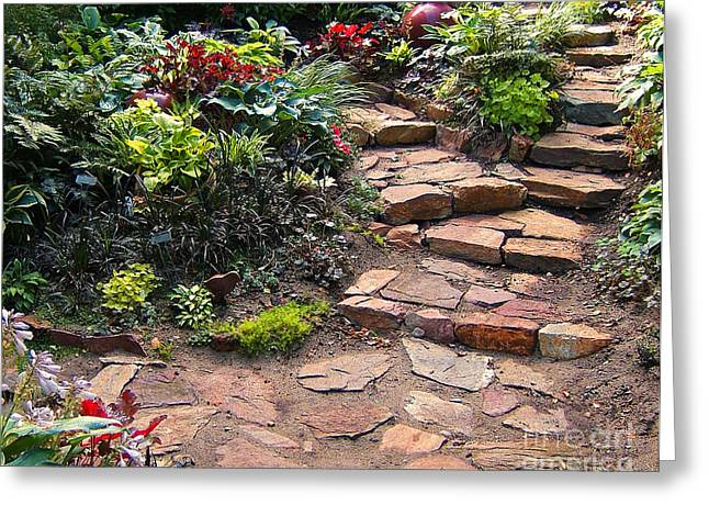 Stone Steps Greeting Cards - Sallys Garden Greeting Card by Nancy Harrison