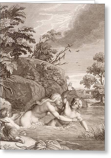 White River Drawings Greeting Cards - Salmacis and Hemaphroditus United in One Body Greeting Card by Bernard Picart