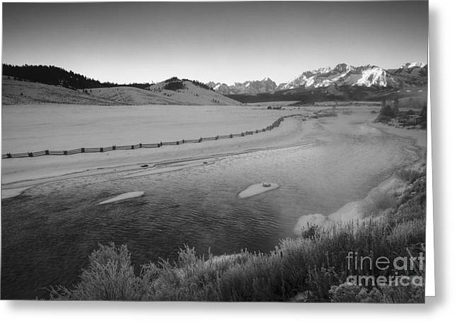 White Salmon River Greeting Cards - Salmon and the Sawtooths Greeting Card by Idaho Scenic Images Linda Lantzy