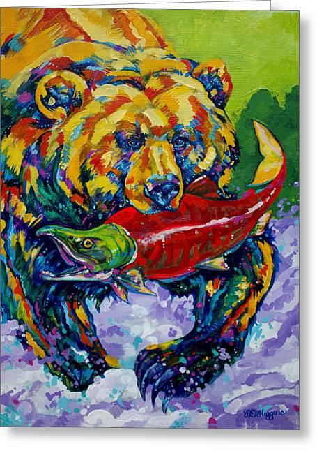 Sockeye Paintings Greeting Cards - Salmon Bear Greeting Card by Derrick Higgins