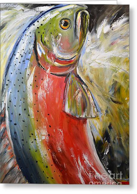 Salmon Paintings Greeting Cards - Salmon Greeting Card by Cher Devereaux