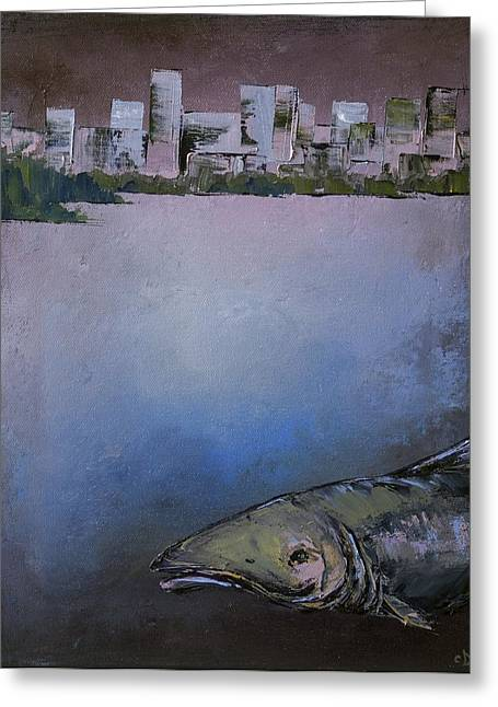 Salmon Paintings Greeting Cards - Salmon City Greeting Card by Carolyn Doe