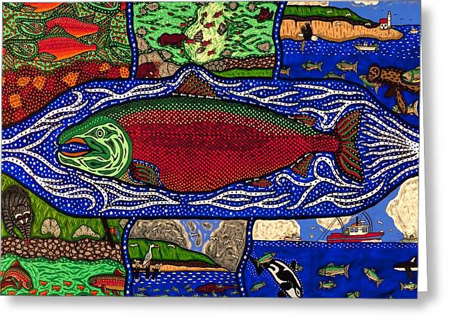 Salmon Paintings Greeting Cards - Salmon Cycle Greeting Card by Bill NeSmith